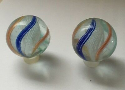 "MINT! RARE Antique Matched Pair Latticinio Core Swirl Marbles Germany 29/32"" WOW"