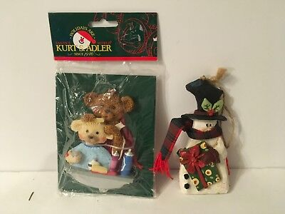 Kurt Adler Christmas Tree Ornament Lot Snowman Teddy Bear Mommy Baby