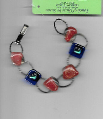 Bracelet with hand fired CABOCHONS  Jewelry red and blue, BLACK LINK BAND