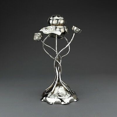 Unusual Ornate Lotus Form Antique Chinese Export Silver Candlestick, Cumshing.