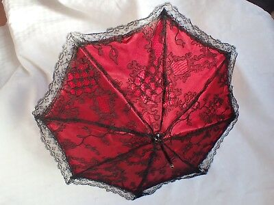 Antique Red Silk Black Lace Parasol Umbrella Porcelain Scotty Dog Head Handle