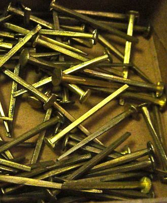 "Antique Furniture Restoration 1.5"" Long Cut Nail 20 Pc Lot Brass Trunk Chest"