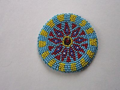 "3"" Glass Beaded Rosettes Tribal Native Crafts Leather Sew On Regalia Pow Wow 10B"