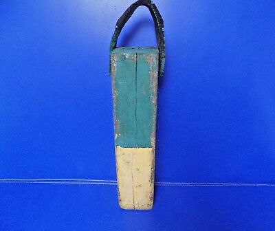 "Antique Wooden Lobster Bouy Toggle Yellow Green Weathered Rustic 20"" Long"