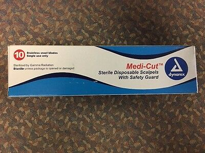 Dynarex 4110 Medi-Cut Sterile Disposable #10 Scalpels, Steel - Box of 10 pcs