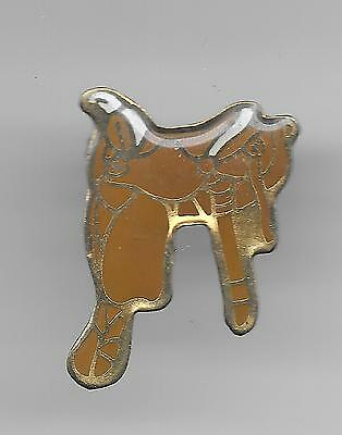 Vintage Tan and Gold Saddle Cowboy Style old enamel pin