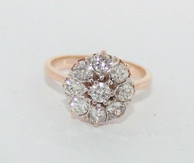 Ring Solid Rose Gold 14K Vintage russian Soviet USSR fine jewelry 4.13g diamonds