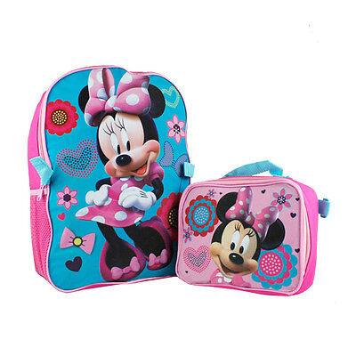 """Disney Minnie Mouse School 16"""" Backpack w/ Insulated Lunch Bag Kids Girls Bag"""