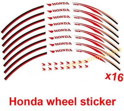 Honda Wheel Sticker Red Reflective Motorcycle Rim Moto Decal Tape Stripe Set 16x