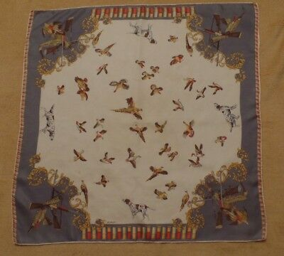 "Vintage Bellotti ""silk"" scarf, 26"" square, rifles, bullets, hunting dogs, fowl"