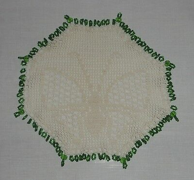 Vintage/antique Cream Crochet Butterfly Beaded Milk Jug Cover-Green Glass Beads