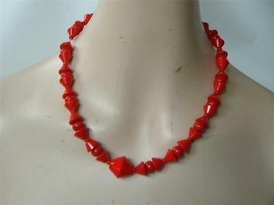 Vintage Tomato Red Czech Glass Art Deco Bead Necklace  Collar Choker Cone shapes