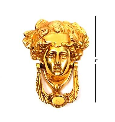 Large Cast Iron Antique Style Rustic GREEK HEAD Door Knocker Gold Finish