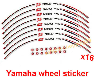 Yamaha Wheel Sticker Red Reflective Motorcycle Rim Moto Decal Tape Stripe x16