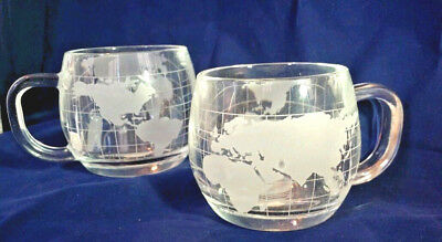 Vintage set of 4 Nescafe Nestle Atlas World Map Frosted Glass Cups Promo Japan