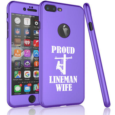 For iPhone 360° Full Body Thin Case Cover + Screen Protector Proud Lineman Wife