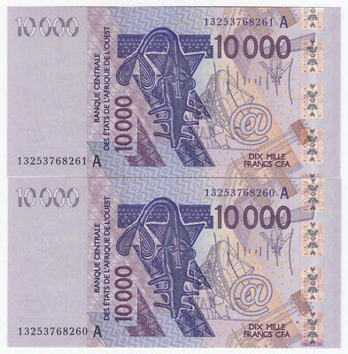 French West Africa 2013 10000 Francs 'A - Cote d'Ivore', Uncirculated (2 notes)