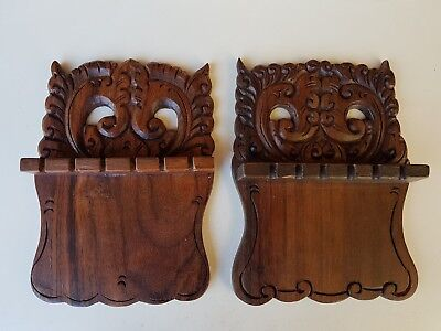 Pair Of Vintage German Or Dutch Carved Wooden Owl Spoon Racks