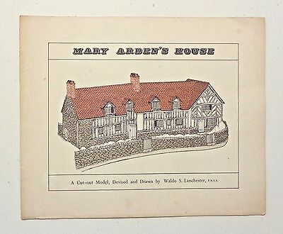Vintage Paper Building Model MARY ARDEN'S HOUSE Stratford England Shakespeare