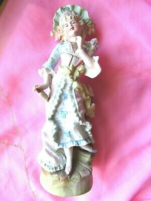 "FIGURINE ANTIQUE GERMAN  PORCELAIN "" LADY""  12 1/4 "" (31cm)"