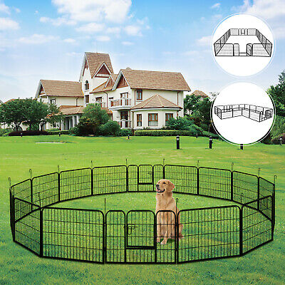 16-Panel Heavy Duty Metal Cage Crate Pet Dog Playpen Exercise Pen Fence Kennel