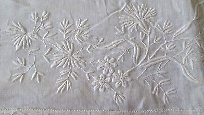 "antique fine linen bedsheet 100x72"" w 9"" lovely embroidered turnback, some flaws"