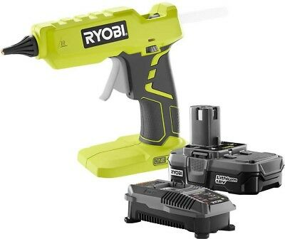 Glue Gun Kit Full Size Ryobi 18-Volt ONE+ Lithium-Ion 1.3Ah Battery And Charger