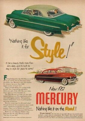 1951 Mercury green sedan/red coupe~STYLE~50's car Ad : Vintage Advertising