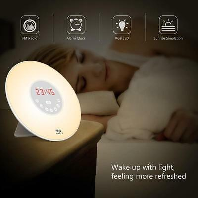 LED Natural Wake-Up Light Sunrise Simulation Alarm Clock FM Radio Night Lamp