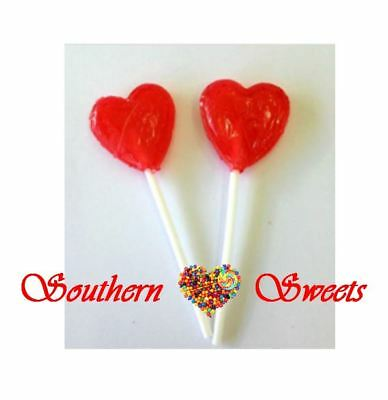 RED HEART LOLLIPOPS 100CT bulk lolly pops candy buffet lollies parties