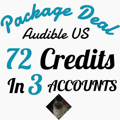 Speed Delivery Audible US 72 credits seperated in 3 Accounts Package Deal