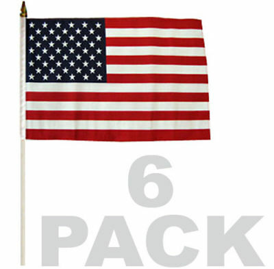 6 PACK LOT of 12x18 STICK FLAG American Flag USA ON A WOOD Wooden STICK