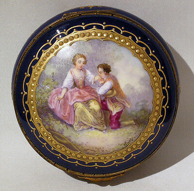 Antique SEVRES HANDPAINTED  BOX PASTORAL ROCOCO Scene ARTIST Signed GILLE c1850