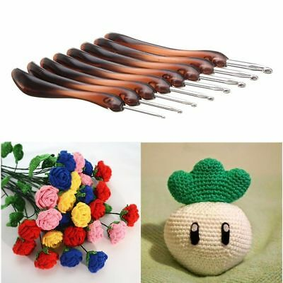 8 Sizes Brown Plastic Soft Handles Aluminum Crochet Hooks Needles Knitting Set