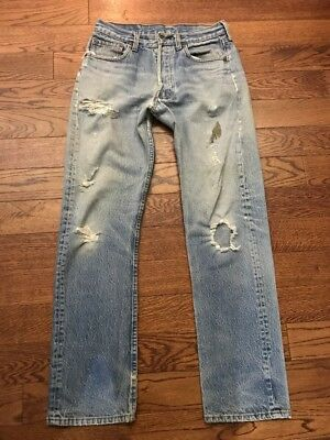 Vintage Distressed Levis 501 Made In USA Jeans - 29 X 30