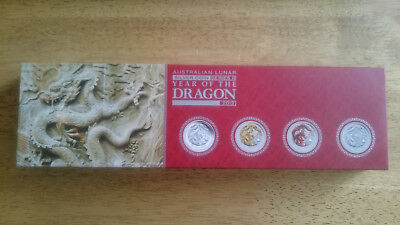 2012 Australia Lunar II - Dragon 1oz Silver Typeset Coin Collection - Perth Mint