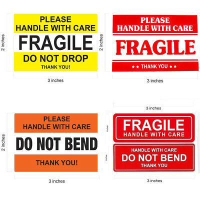 FRAGILE STICKER 1 x 3 , 2 x 3 DO NOT BEND DO NOT DROP THANK YOU HANDLE WITH CARE