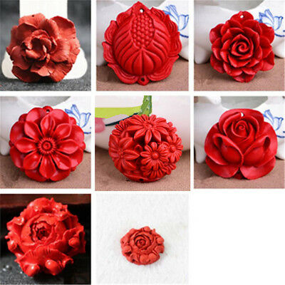 1pc Unique Red Cinnabar Carved Various Flower Pendant Beads DIY Jewelry Gift