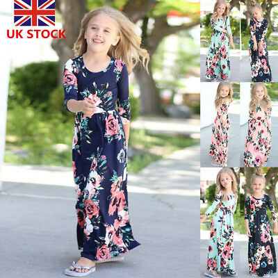 Kids Girls Long Sleeve Floral Maxi Dress Holiday Party Weddding Princess Dress