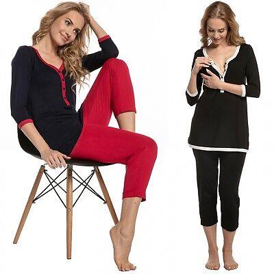 Happy Mama. Women's Maternity Top T-shirt Breastfeeding Pyjamas Crop Pants. 213p