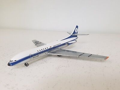 SE 210 Caravelle III SABENA OO-SRA a die-cast model in 1/200 scale with a stand