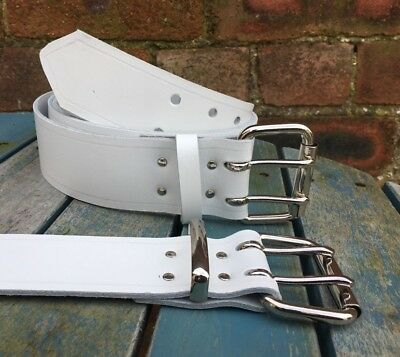 White Leather Double Prong Belt 2 Inch Wide Hand Made 100% Real Leather 2 Prong