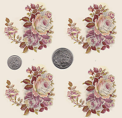 """4  x Waterslide ceramic decals Flowers Pink/white Roses 2 3/4"""" x  2 3/4'  PD872a"""