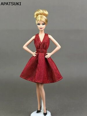 Red Classical Evening Dress Purely Manual Doll Dresses for Barbie Doll Clothes
