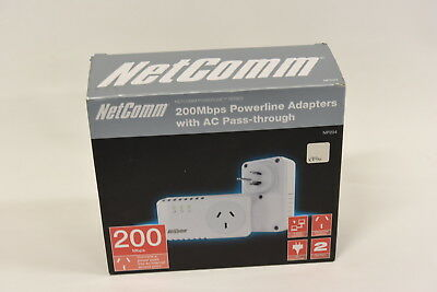 NetComm NP204 200Mpbs Powerline Adapters with AC Pass-through - Twin Pack