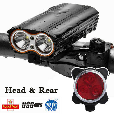 USB Rechargeable Cree T6 Mountain Cycle Bicycle Light Bike Front Lamp Torch Set