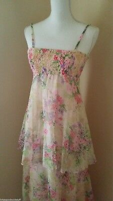 Vintage 70s Sheer Floral Tiered MAXI DRESS