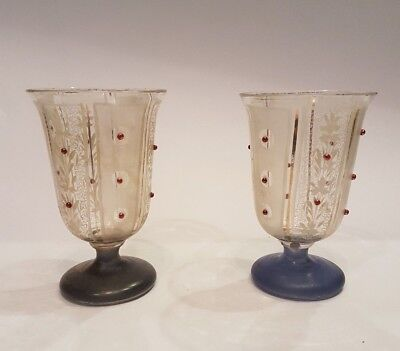 ULTRA RARE ANTIQUE FRENCH HAND PAINTED GOBLET 19c SIGNED