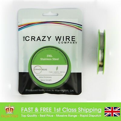 SS316L 28 Gauge AWG (0.32mm) Marine Grade Wire - 250' Roll - 9.27 ohms/m