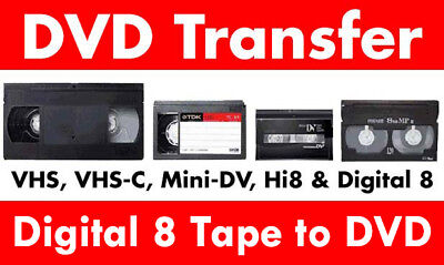 Transfer / Copy Your Digital 8 Tape's to DVD or MP4 -  Fast Service PAL ONLY !!